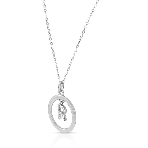 Initial Pendant R Circle Necklace in Sterling Silver