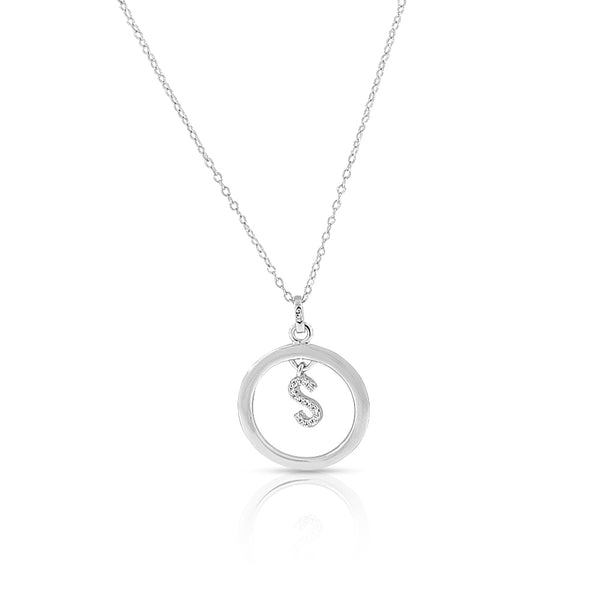 "925 Sterling Silver White Clear CZ Circle Letter Initial Pendant Necklace, 18"" - S"