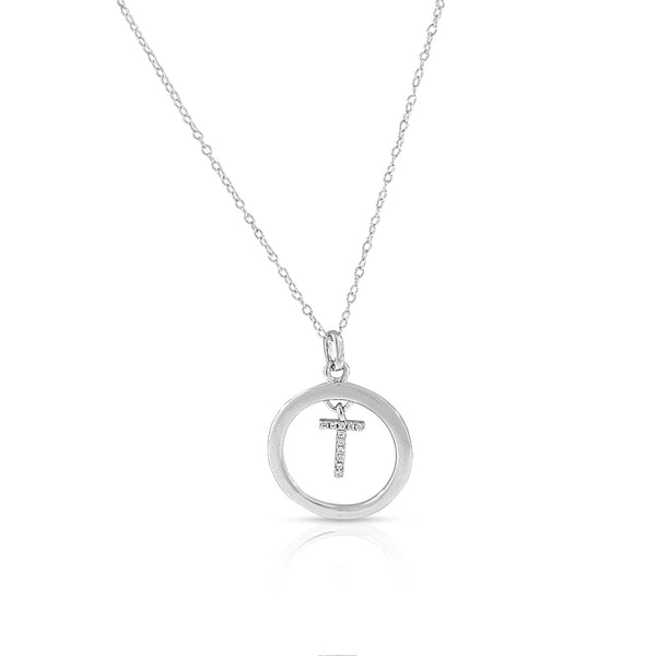 "925 Sterling Silver White Clear CZ Circle Letter Initial Pendant Necklace, 18"" - T"