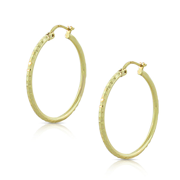 925 Sterling Silver Yellow Gold-Tone Faceted Round Hoop Earrings, 1""
