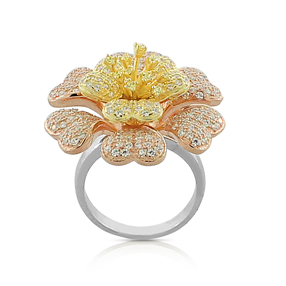 Sterling Silver Cocktail 3D Multi-Color Flower Ring