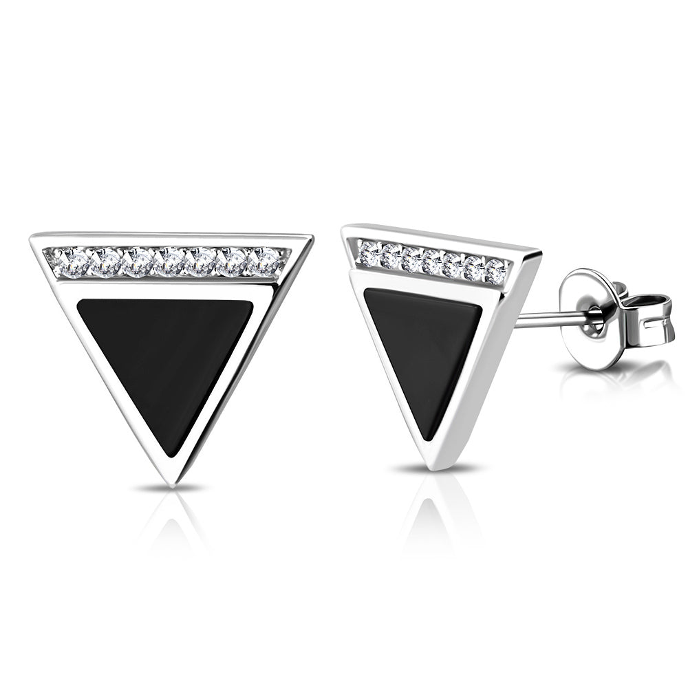 925 Sterling Silver White Clear CZ Black Simulated Gemstone Triangle Stud Earrings, 0.40""