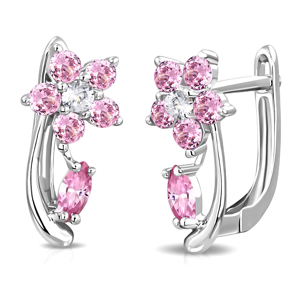 925 Sterling Silver Pink Flower Floral Small Girls Hoop Huggie Earrings, 0.50""