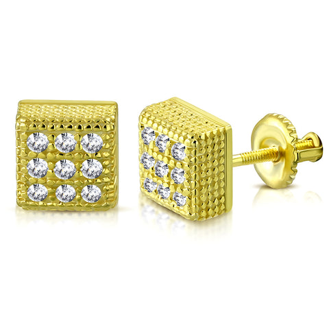 925 Sterling Silver Yellow Gold-Tone Square White Clear CZ Screw Back Stud Earrings, 0.20""