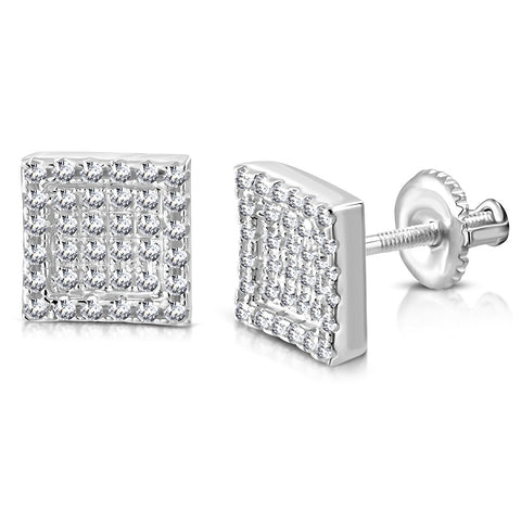 925 Sterling Silver Square White Clear CZ Screw Back Stud Earrings, 0.30""
