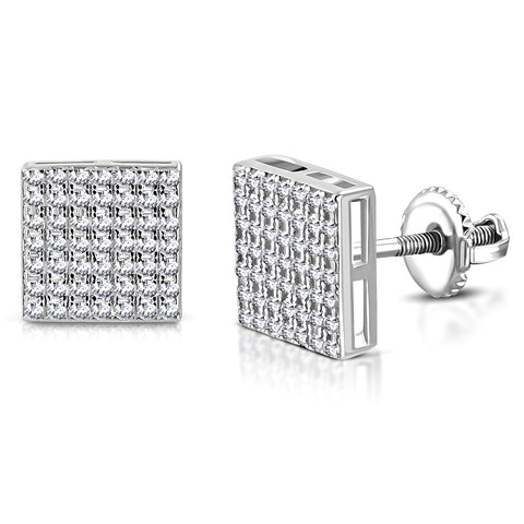 925 Sterling Silver Square White Clear CZ Screw Back Stud Earrings, 0.35""