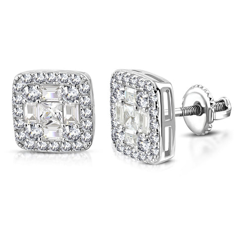 925 Sterling Silver Square White Clear CZ Screw Back Stud Earrings, 0.45""