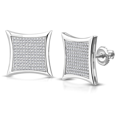 925 Sterling Silver Square White Clear CZ Screw Back Stud Earrings, 0.70""