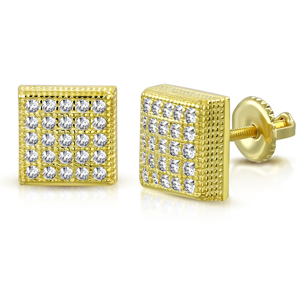 925 Sterling Silver Yellow Gold-Tone Square White Clear CZ Screw Back Stud Earrings, 0.35""
