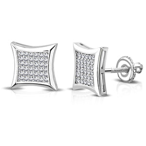925 Sterling Silver Square White Clear CZ Screw Back Stud Earrings, 0.40""