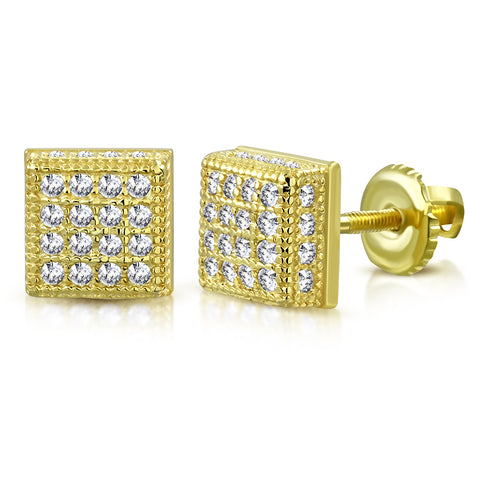 925 Sterling Silver Yellow Gold-Tone Square White Clear CZ Screw Back Stud Earrings, 0.30""