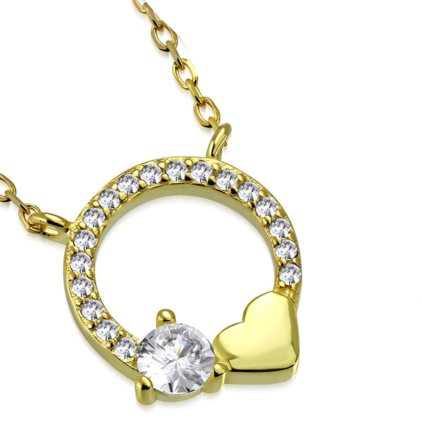 925 Sterling Silver Yellow Gold-Tone Circle of Life Love Heart White Clear CZ Pendant Necklace