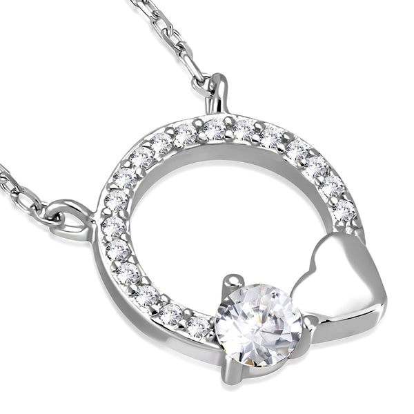 925 Sterling Silver Circle of Life Love Heart White Clear CZ Pendant Necklace
