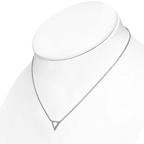925 Sterling Silver Simulated Mother of Pearl Clear White CZ Triangle Pendant Necklace, 18""
