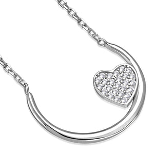 925 Sterling Silver Clear White CZ Half Circle Love Heart Pendant Necklace, 18""