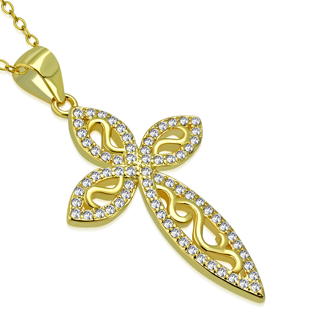925 Sterling Silver Yellow Gold-Tone White Clear CZ Filigree Latin Cross Pendant Necklace, 18""