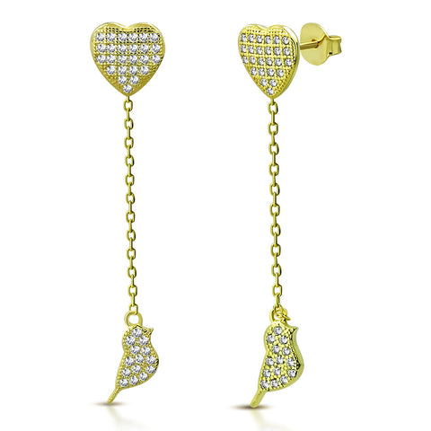 925 Sterling Silver Yellow Gold-Tone White Clear CZ Love Heart Bird Lovebird Dangle Drop Earrings, 1.85""