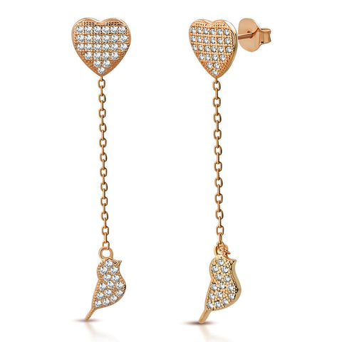 925 Sterling Silver Rose Gold-Tone White Clear CZ Love Heart Bird Lovebird Dangle Drop Earrings, 1.85""
