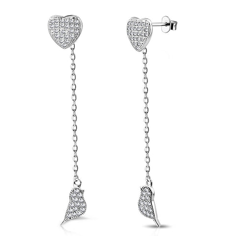 925 Sterling Silver White Clear CZ Love Heart Bird Lovebird Dangle Drop Earrings, 1.85""