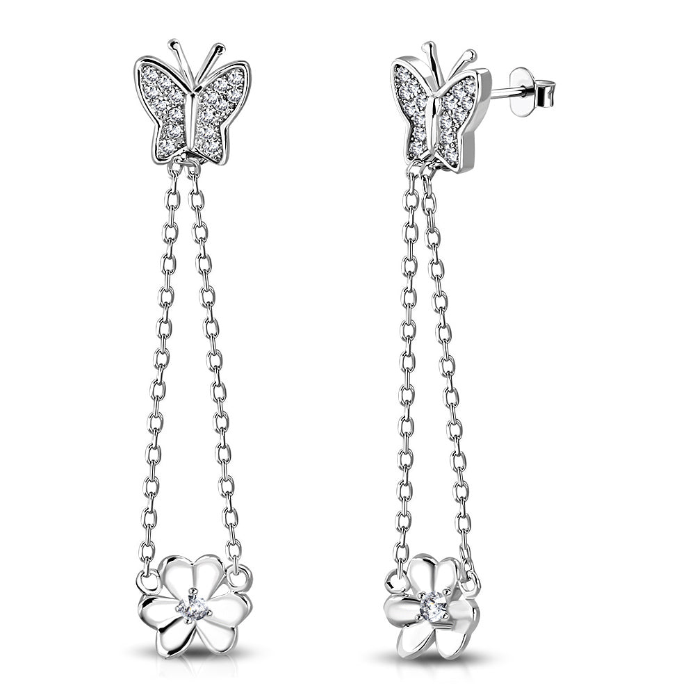 925 Sterling Silver White Clear CZ Butterfly Flower Dangle Drop Earrings, 1.70""