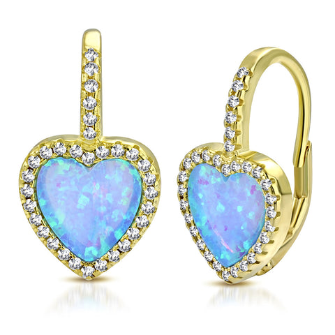 925 Sterling Silver Yellow Gold-Tone Clear CZ Simulated Blue Opal Love Heart Hoop Dangle Earrings, 0.75""