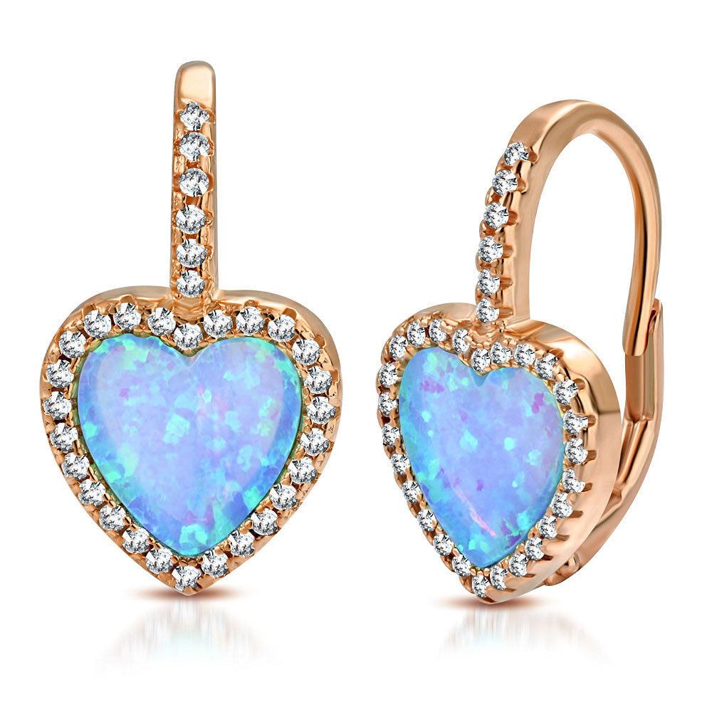 925 Sterling Silver Rose Gold-Tone Simulated Blue Opal Love Heart Hoop Dangle Earrings