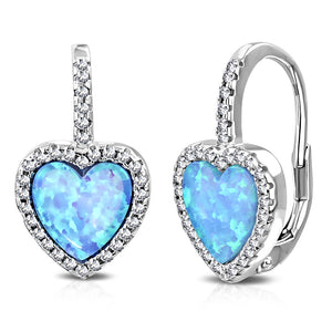 925 Sterling Silver Clear CZ Simulated Blue Opal Love Heart Hoop Dangle Earrings, 0.75""