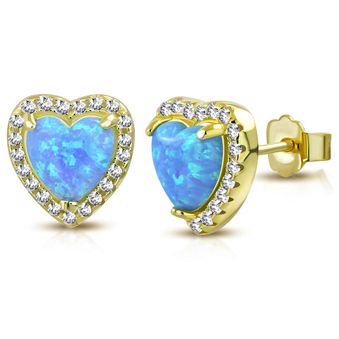 925 Sterling Silver Yellow Gold-Tone Clear CZ Simulated Blue Opal Love Heart Stud Earrings, 0.40""