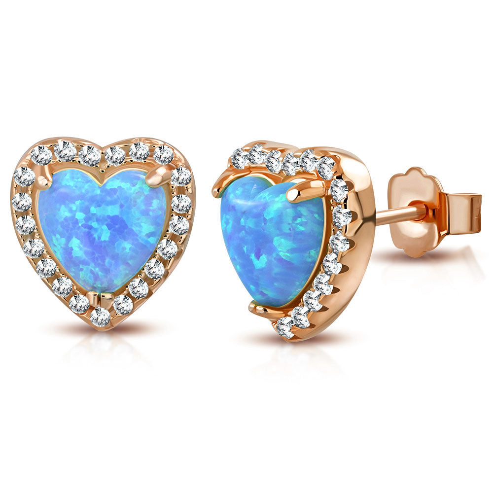 925 Sterling Silver Rose Gold-Tone Clear CZ Simulated Blue Opal Love Heart Stud Earrings, 0.40""