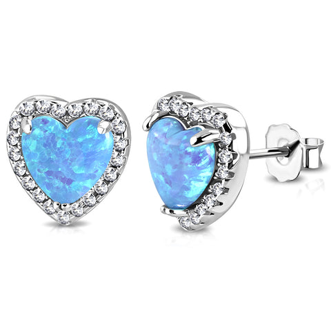 925 Sterling Silver Clear CZ Simulated Blue Opal Love Heart Stud Earrings, 0.40""