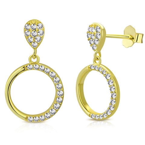 925 Sterling Silver Yellow Gold-Tone White Clear CZ Circle Teardrop Dangle Drop Earrings, 0.80""