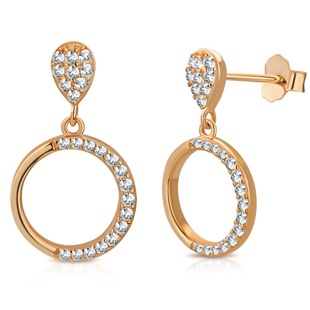 925 Sterling Silver Rose Gold-Tone White Clear CZ Circle Teardrop Dangle Drop Earrings, 0.80""
