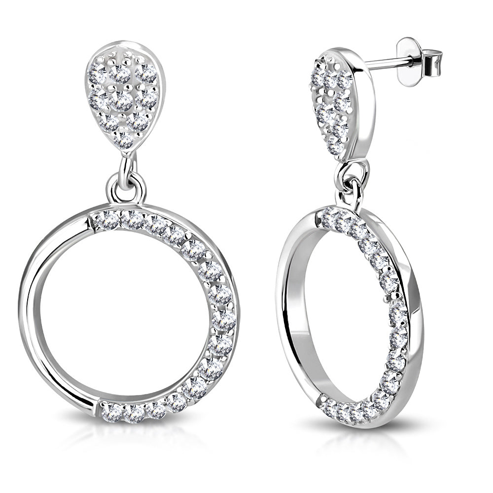 925 Sterling Silver White Clear CZ Circle Teardrop Dangle Drop Earrings, 0.80""