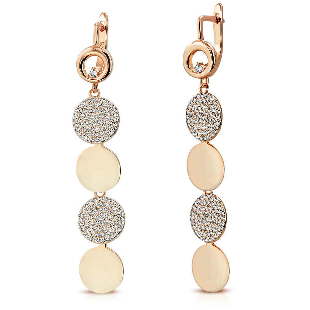 925 Sterling Silver Rose Gold-Tone Polished Circle White Clear CZ Long Dangle Drop Earrings, 2.35""