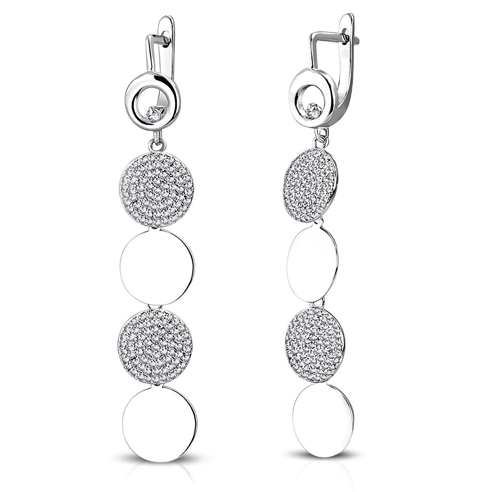 925 Sterling Silver Polished Circle White Clear CZ Long Dangle Drop Earrings, 2.35""