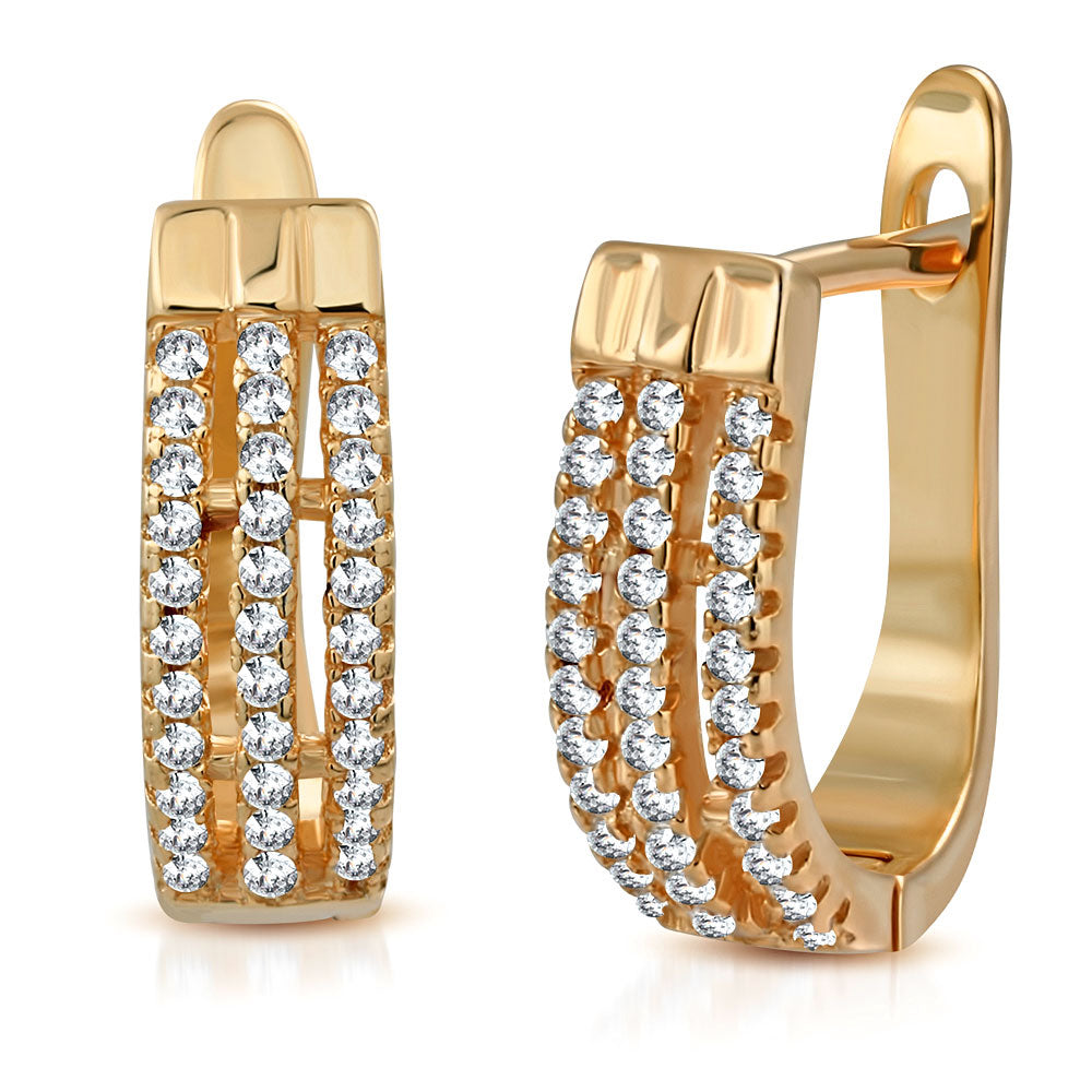 925 Sterling Silver Rose Gold-Tone White Clear CZ Hoop Huggie Earrings, 0.60""
