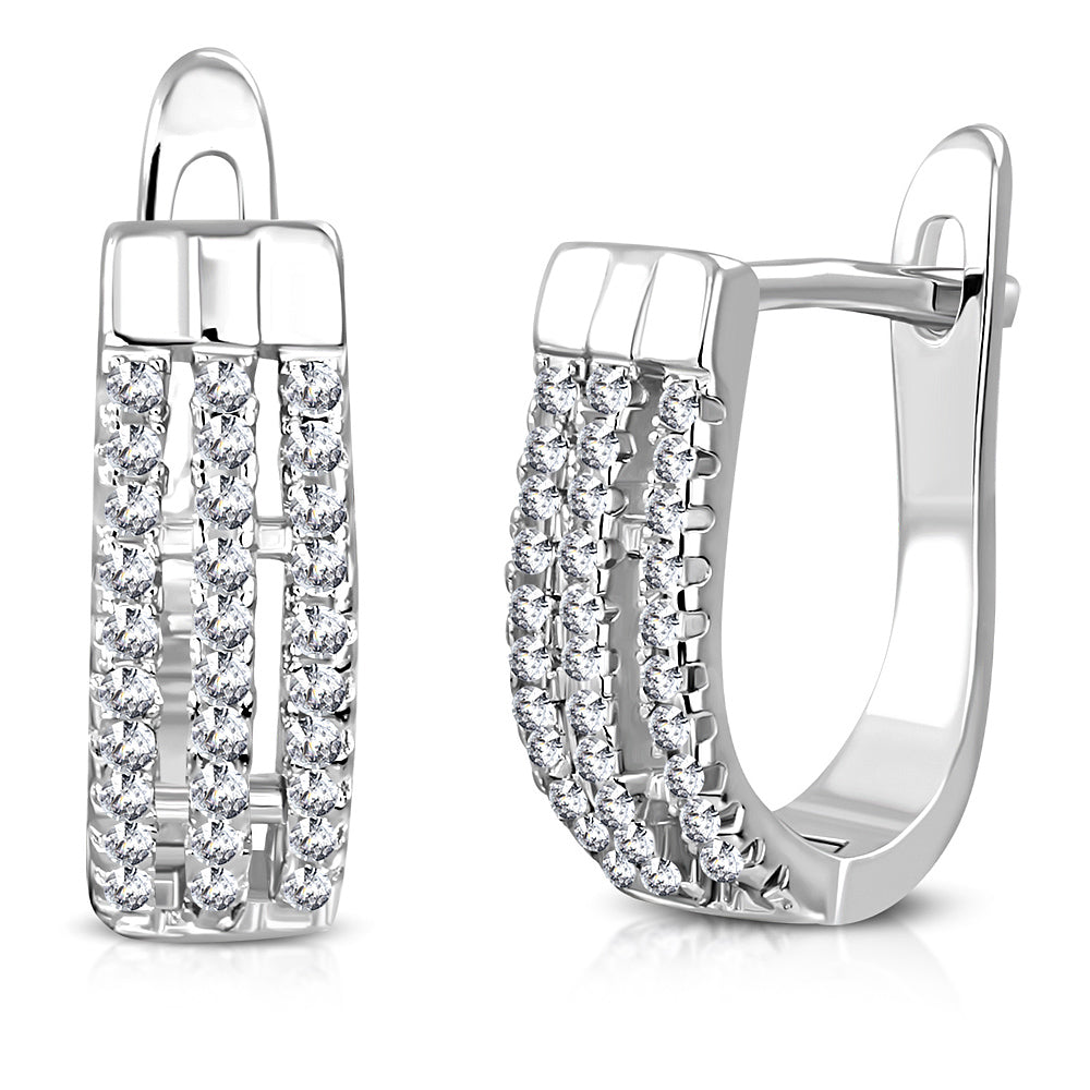 925 Sterling Silver White Clear CZ Hoop Huggie Earrings, 0.60""