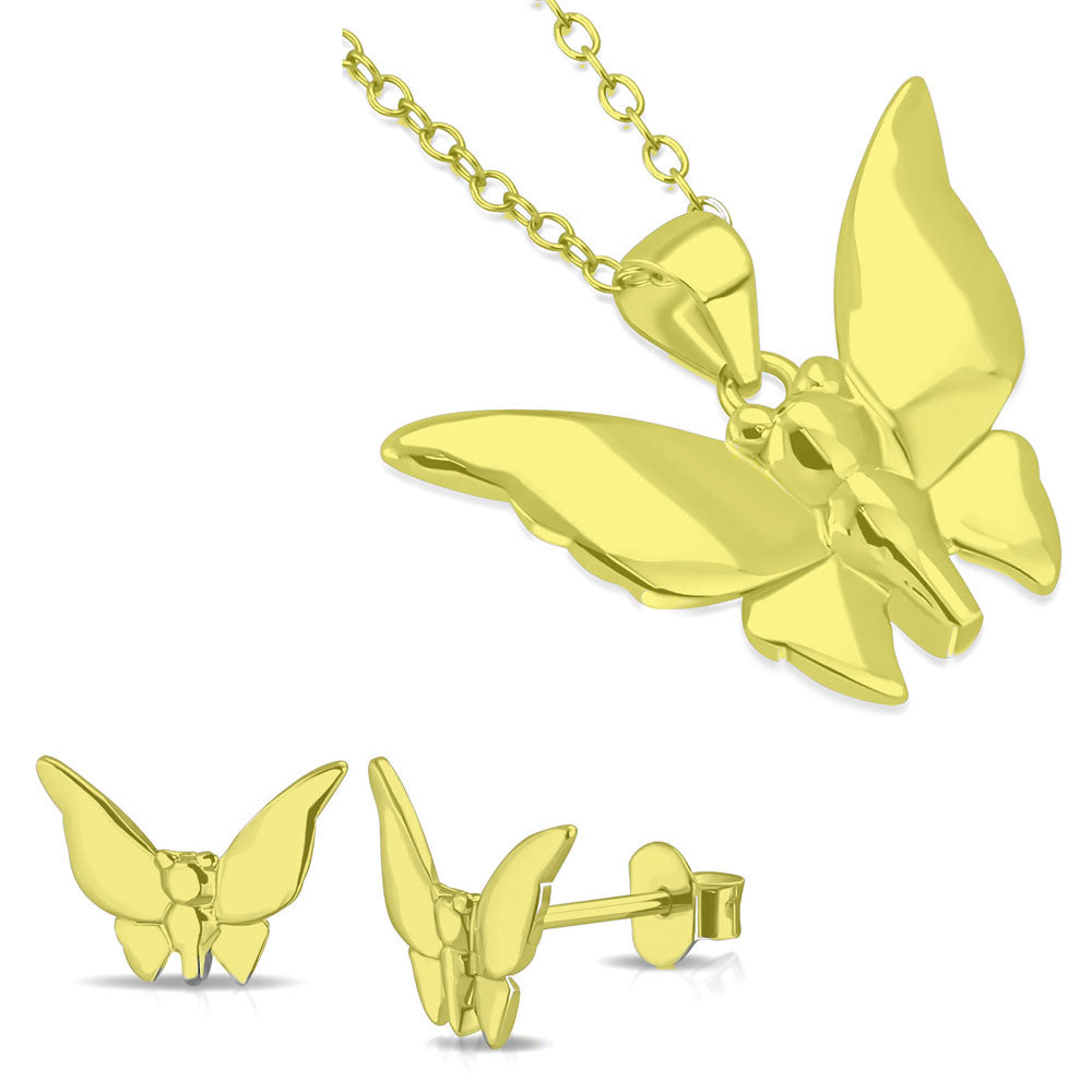 925 Sterling Silver Yellow Gold-Tone Butterfly Pendant Necklace Stud Earrings Jewelry Set