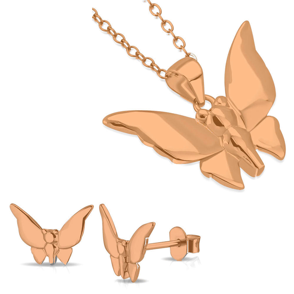 925 Sterling Silver Rose Gold-Tone Butterfly Pendant Necklace Stud Earrings Jewelry Set