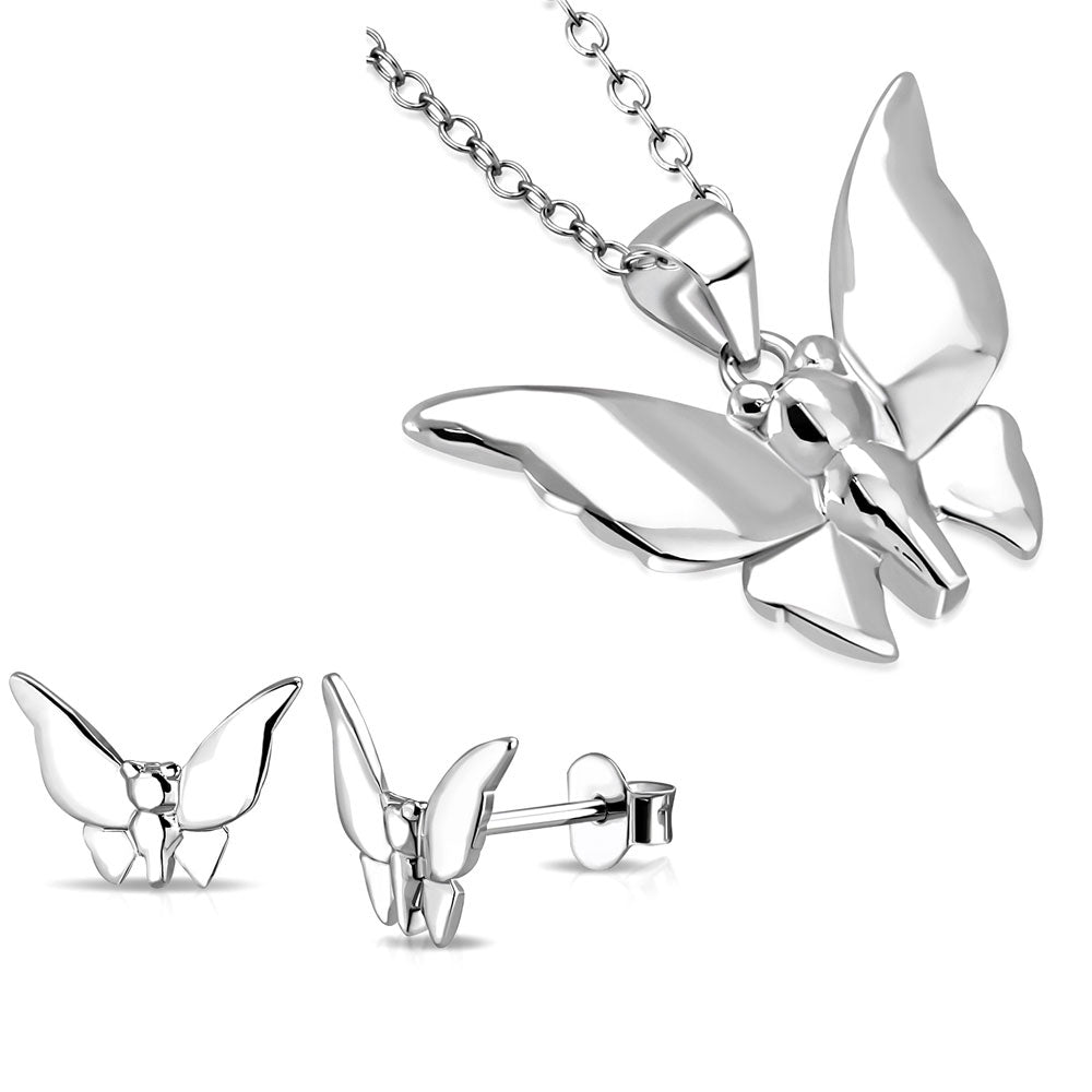 925 Sterling Silver Polished Butterfly Pendant Necklace Stud Earrings Jewelry Set, 18""