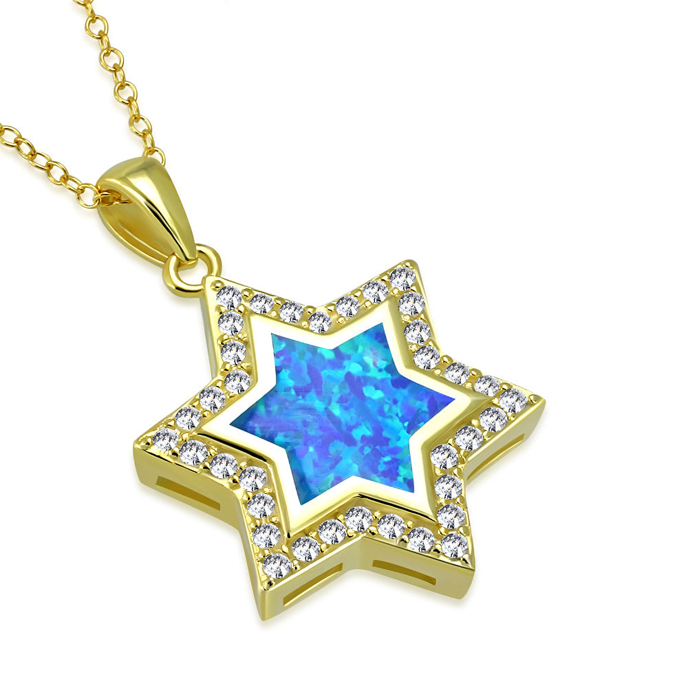 925 Sterling Silver Yellow Gold-Tone Simulated Blue Opal Jewish Star of David Pendant Necklace