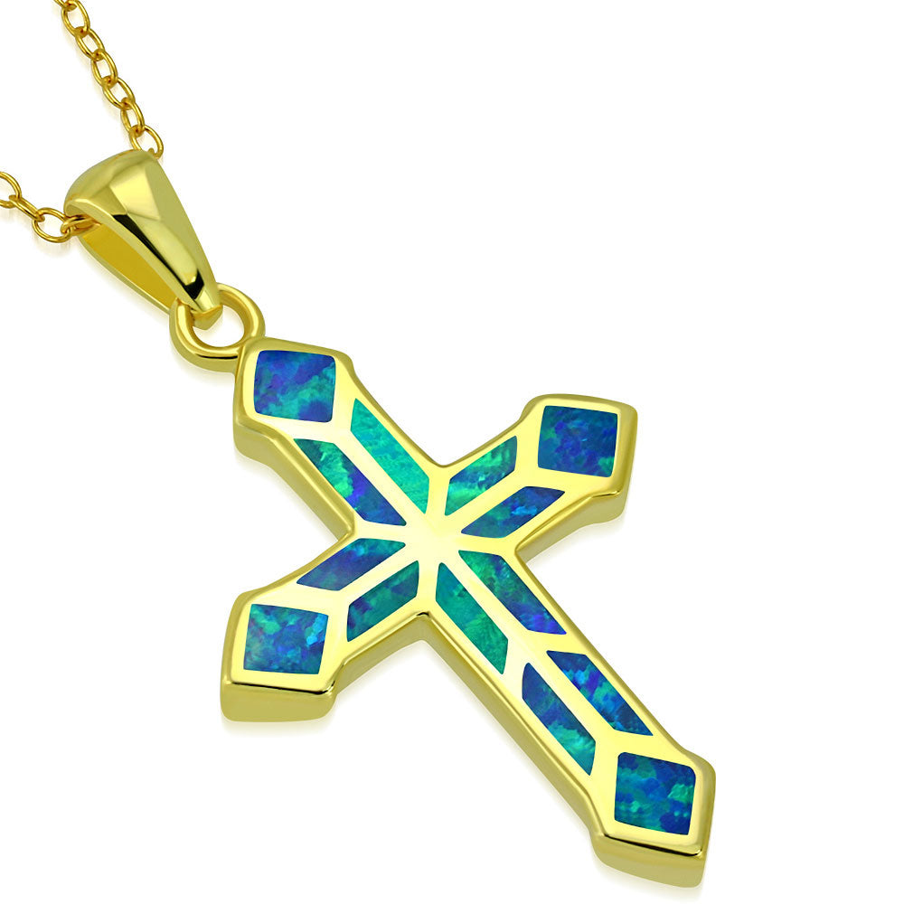925 Sterling Silver Yellow Gold-Tone Simulated Blue Opal Religious Latin Cross Pendant Necklace, 18""