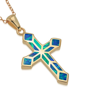 925 Sterling Silver Rose Gold-Tone Blue Opal Religious Cross Pendant Necklace, 18""