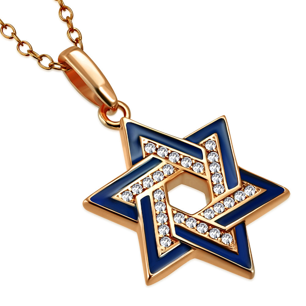 925 Sterling Silver Rose Gold-Tone Star of David Necklace Pendant