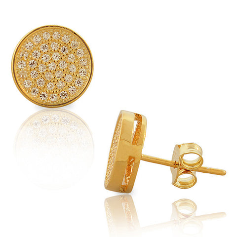 925 Sterling Silver Yellow Gold-Tone White CZ Womens Round Stud Earrings