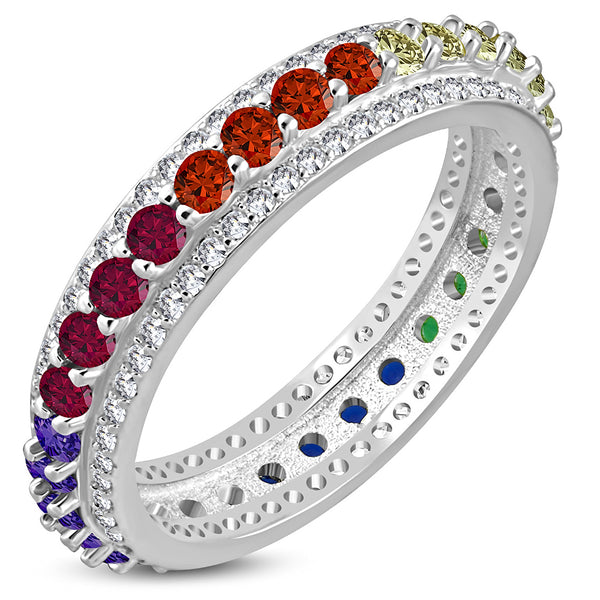 Sterling Silver Multi-Color CZ Eternity Ring Band