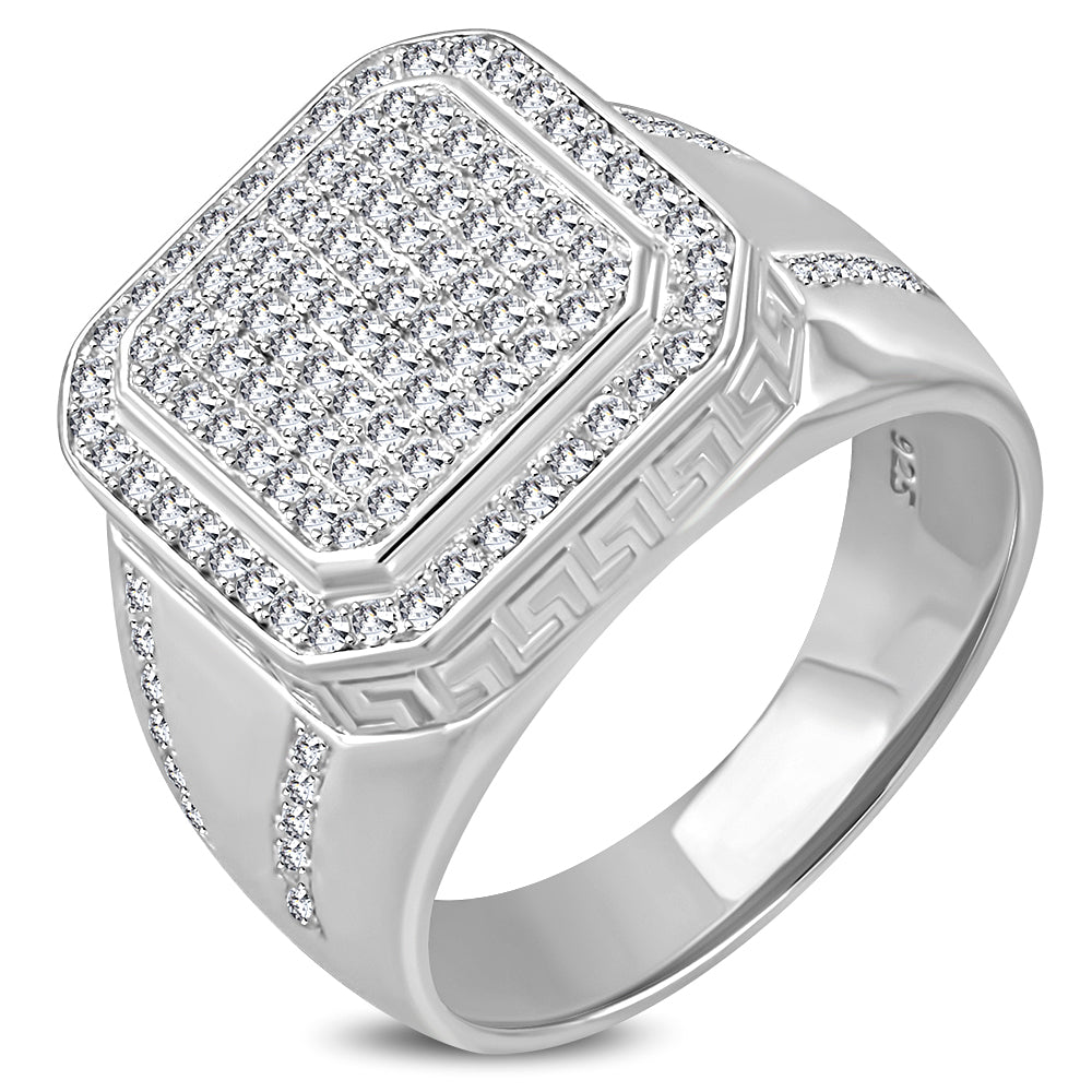 925 Sterling Silver Men's Square Cocktail Ring