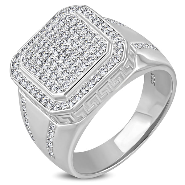 925 Sterling Silver Men's Square Ring