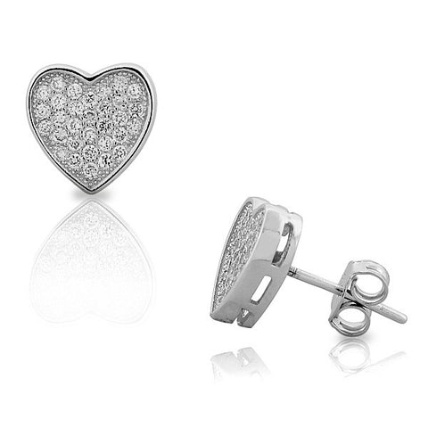 925 Sterling Silver White CZ Womens Love Heart-Shaped Stud Earrings