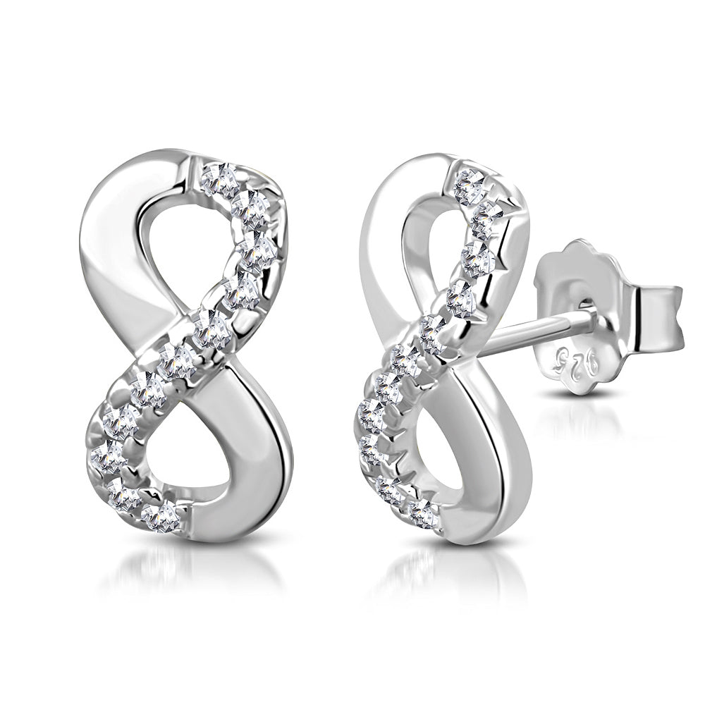 925 Sterling Silver White CZ Stud Infinity Women and  Girls Stud Earrings